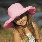 UVカット帽子 - キッズ ハット -  ビッグ ブリム リボン ハット ライトピンク 55cm