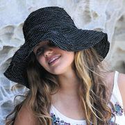 UVカット帽子 - レディース ハット- ファブリック スクランチ ハット ブラック