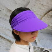 UVカット帽子 - レディース ハット- ライクラ アジャスタブル バイザー パープル