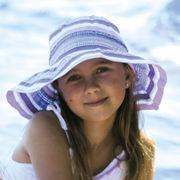 UVカット帽子 - キッズ ハット -  ワイド ブリム ハット パープル 55cm