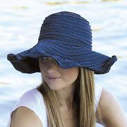 UVカット帽子 - レディース ハット- ファブリック スクランチ ハット ネイビー
