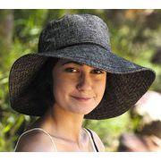 UVカット帽子 - レディース ハット- ワイド ブリム .リンネル ハット チャコール