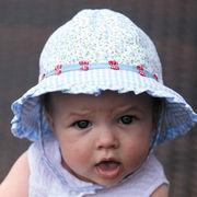 UVカット帽子 - ベビー ハット -  フリル ベビーズ ボンネット ライトブルー サイズ:43/46cm
