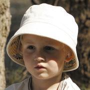 UVカット帽子 - キッズ ハット -  リバーシブル コットン バケット クリーム 50cm