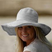 UVカット帽子 - レディース ハット- ファブリック スクランチ ハット ホワイト