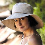 UVカット帽子 - レディース ハット- ワイド ブリム .リンネル ハット カーキ