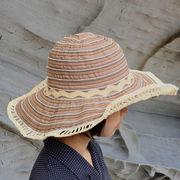 UVカット帽子 - レディース ハット- ツー トーン リボン キャプリーヌ チョコ