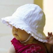 UVカット帽子 - ベビー ハット -  フリル ベビーズ ボンネット ホワイト サイズ:43/46cm