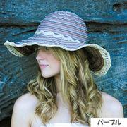 UVカット帽子 - レディース ハット- ツー トーン リボン キャプリーヌ パープル