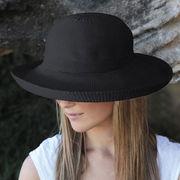 UVカット帽子 - レディース ハット- シルエット スタイル ブラック