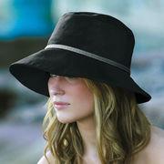 UVカット帽子 - レディース ハット- コットン ワイド ブリム バケット ブラック