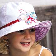 UVカット帽子 - キッズ ハット -  ワイド ブリム アップリケ ハット バタフライ サイズ:52cm/55cm