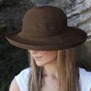 UVカット帽子 - レディース ハット- シルエット スタイル チョコレート