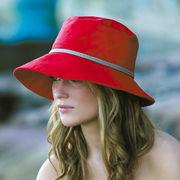 UVカット帽子 - レディース ハット- コットン ワイド ブリム バケット レッド