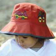 UVカット帽子 - キッズ ハット -  ボーイズ バケット ハット 消防車 サイズ:52cm/55cm