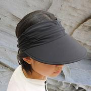 UVカット帽子 - レディース ハット- ライクラ アジャスタブル バイザー ブラック