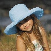 UVカット帽子 - キッズ ハット -  ビッグ ブリム リボン ハット ライトブルー 55cm