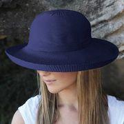 UVカット帽子 - レディース ハット- シルエット スタイル ネイビー