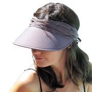 UVカット帽子 - レディース ハット- ライクラ アジャスタブル バイザー チョコ