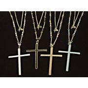 【30%オフ対象商品】大きめカラークロスの2連ロングネックレス 十字架