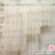 カフェカーテン<薔薇 ローズ チュールレース 刺繍 赤>