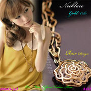 ネックレス クリアストーン内蔵フラワーデザインのレディ-スファッションネックレス
