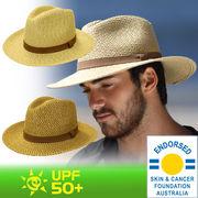 UVカット帽子 - メンズ ハット - ソフトライトウェイト ハット ブラウン/ナチュラル サイズ:59cm/61cm
