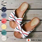 【新作再入荷/安心の日本製】インパクトのあるリボン付き♪素足に馴染むぺたんこフットペットサンダル☆