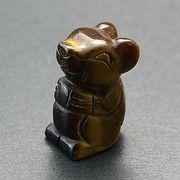 【彫刻置物】にっこりねずみ タイガーアイ