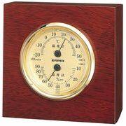 《ギフトにも最適》【日本製天然木】ウッディEX温・湿度計