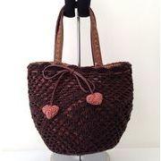 鈎針編みニット包み冬のカゴバッグ