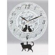 猫ガラス振り子時計