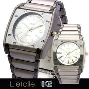【L'etoile】スクエアフェイス メンズ 腕時計 IK2