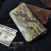 BEAMZSQUARE 迷彩柄銀革クロコ型押しラウンドファスナー長財布 BZSQ-190 2色展開