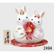 ★ひな祭りを飾る★ 陶製の雛人形 【錦彩 うさぎ雛】