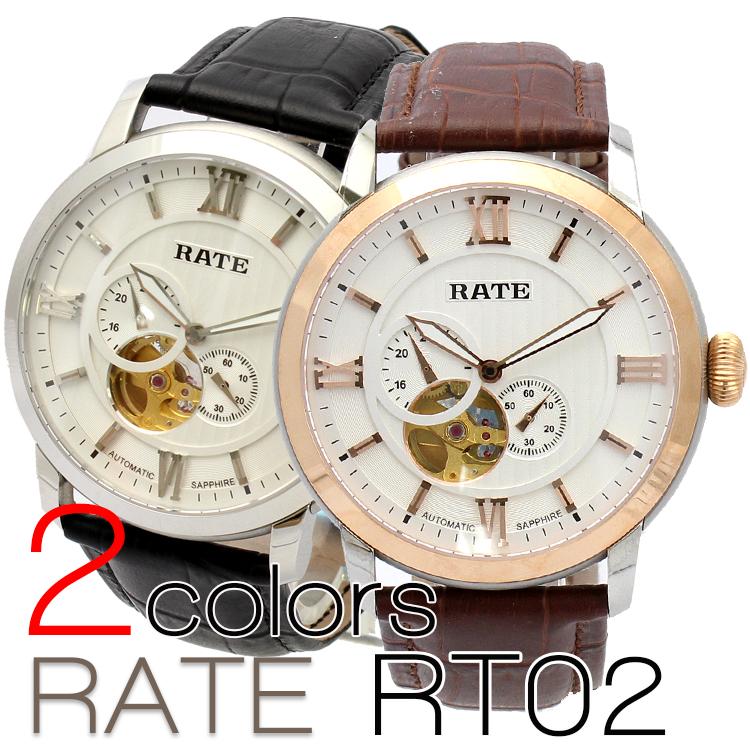 【クロノグラフ搭載】 テンプスケルトン 自動巻き メンズ 腕時計 RT02