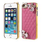 iPhoneSE / iPhone5s iPhone SE iPhone 5s ラインストーンケース ダイヤモンドバタフライ  ローズ