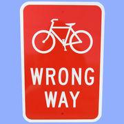 US BICYCLE WRONG WAY トラフィックサインボード