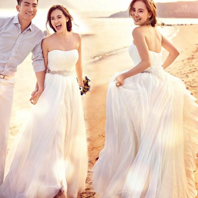 33bdbc4c7 エンパイアライン ファスナータイプ 豪華なウエディングドレス 二次会 ロング 刺繍 結婚式 妊婦さんもOK