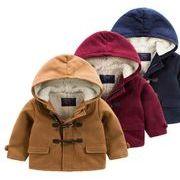 キッズコート綿入り 中綿アウター小学生ダッフルアウターもこもこパーカジャケット3色