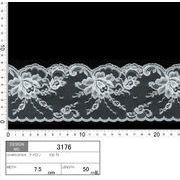 【メーカー直販】★レース巾8cm 両端スカララッセルレース 10m巻/オフ白