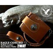 【EAGLE CONCHO】2WAYバッファローレザーショートライダースウォレット◇ウォッシュド加工 AN-849