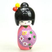 木製 こけし人形 (傘持ち)