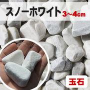 【送料無料】玉石砂利 スノーホワイト/白色 粒3-4cm 500kg(約8平米分)