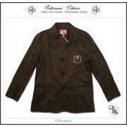 刺しゅう入り高級感ある麻混テーラードジャケット(JPBt)ブラウン 120-140cm