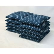 新製品でお買い得  青 ボリュームたっぷりのあったかい銘仙版 刺子柄座布団(10枚組) 青 日本製