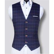 高品質スーツ生地  スーツベスト  結婚式メンズ   ビジネス通勤  紳士  チョッキ 二次会  礼服チェック柄