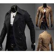 春コート  スプリングコート   メンズ  トレンチコート  通勤ジャケット  紳士ダブル  男性