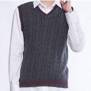 アウター ケーブル  ビジネス  プルオーバーVネック紳士服ニットベスト  通勤メンズセーター   カットソー