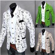 メンズスーツ  麻リンネル 結婚式  通勤ブレザー  修身テーラード  長袖 ジャケット コート 薄手スリム総柄